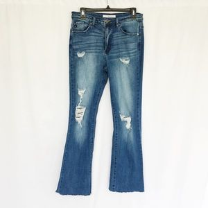KanCan Estilo distressed raw edge crop denim 29